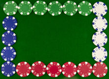 Different poker chips as border Royalty Free Stock Images