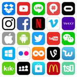Different popular social media and other icons. July 12, 2017: Different popular social media and other icons: Facebook, Twitter, Instagram, Youtube and others vector illustration