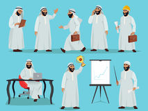 Different poses of arab businessman. Character design in flat style. Vector illustrations set Stock Image