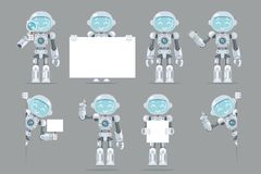 Different poses boy teen robot android artificial intelligence futuristic information interface flat design vector. Different poses boy teen robot android Stock Images