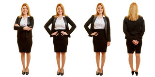 Different poses of a businesswoman in set. Different poses of a young smiling businesswoman in set Stock Photo