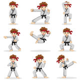 Different poses of karate kid Royalty Free Stock Images