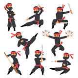 Different poses of ninja fighter in black cloth character warrior sword martial weapon japanese man and karate cartoon. Person action mask kick vector Royalty Free Stock Image