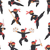 Different poses of ninja fighter in black cloth character warrior sword martial weapon japanese man and karate cartoon. Person seamless pattern vector Royalty Free Stock Photo