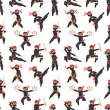 Different poses of ninja fighter in black cloth character warrior sword martial weapon japanese man and karate cartoon. Person seamless pattern vector Stock Photography
