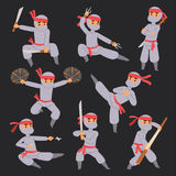 Different poses of ninja fighter in cloth character warrior japanese man cartoon person vector man. Different poses of ninja fighter in cloth character warrior Royalty Free Stock Photos
