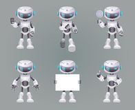 Different Poses Robot innovation technology science fiction future cute little 3d Icons set design vector illustration. Different Poses Robot innovation Stock Images