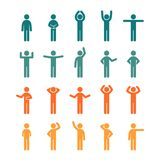 Different poses stick figure people pictogram colored icon set. vector illustration