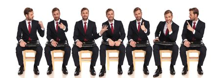 Different poses of young buinessman waiting for a job interview stock photo