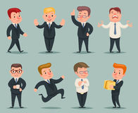 Different Positions and Actions Businessman Character Icons Set  Stock Image