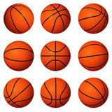 Different positions of basketballs. Isolated on white background royalty free stock image