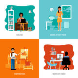 Different Possibilities Of Freelancers Set Royalty Free Stock Photo