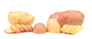 Different potatoes and split tuber. Royalty Free Stock Image