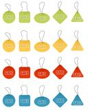 Different price tags. Vector illustration of price tags different colors and shapes Stock Images