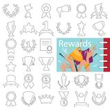 Different prizes and rewards line icons set decorated thematic color flat illustration. For web and mobile Stock Photo