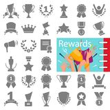 Different prizes and rewards simple icons set decorated thematic color flat illustration. For web and mobile Royalty Free Stock Photo