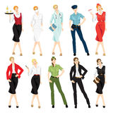 Different professional woman in formal clothes. Vector illustration of different professional woman in formal clothes  on white background Stock Image