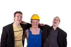 Different professions. Businessmens and taskmaster over white background Stock Photography