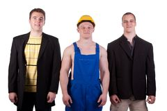 Different professions. Businessmens and taskmaster over white background Stock Photos