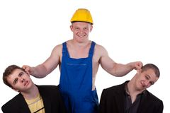Different professions. Businessmens and taskmaster over white background Royalty Free Stock Photos