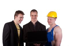Different professions. Businessmens and taskmaster over white background Royalty Free Stock Image