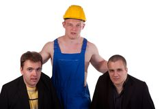 Different professions. Businessmens and taskmaster over white background Stock Photo