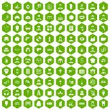 100 different professions icons hexagon green. 100 different professions icons set in green hexagon  vector illustration Stock Photos