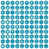 100 different professions icons sapphirine violet. 100 different professions icons set in sapphirine hexagon isolated vector illustration Royalty Free Illustration