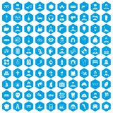 100 different professions icons set blue. 100 different professions icons set in blue hexagon isolated vector illustration royalty free illustration