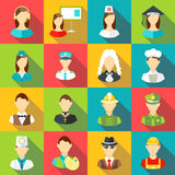 Different professions icons set, flat style Stock Photo