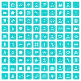 100 different professions icons set grunge blue Stock Photos
