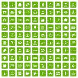 100 different professions icons set grunge green. 100 different professions icons set in grunge style green color isolated on white background vector Royalty Free Stock Image