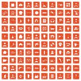 100 different professions icons set grunge orange. 100 different professions icons set in grunge style orange color isolated on white background vector Royalty Free Stock Image