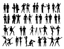 Different professions set. Black silhouettes of cartoon characters on white background. All kinds of professional activities as teacher, doctor, firefighter Stock Photo