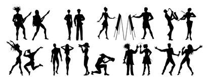 Different professions set. Black silhouettes on white background. All kinds of professional activities as teacher, doctor, firefighter and more Stock Photography