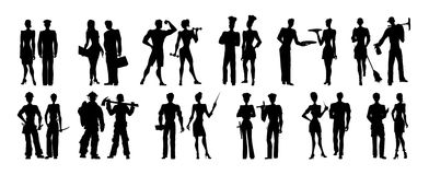 Different professions set. Black silhouettes on white background. All kinds of professional activities as teacher, doctor, firefighter and more Stock Photos