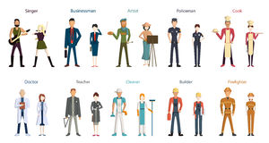 Different professions set. Cartoon characters on white background. All kinds of professional activities as teacher, doctor, firefighter and more Royalty Free Stock Image