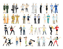 Different professions set. Cartoon characters on white background. All kinds of professional activities as teacher, doctor, firefighter and more Royalty Free Stock Images