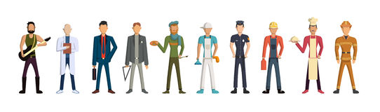 Different professions set. Cartoon characters on white background. All kinds of professional activities as teacher, doctor, firefighter and more Stock Photography