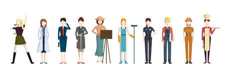 Different professions set. Cartoon characters on white background. All kinds of professional activities as teacher, doctor, firefighter and more Stock Images