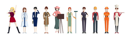 Different professions set. Isolated cartoon characters on white background. All kinds of professional activities as teacher, doctor, firefighter and more Stock Images