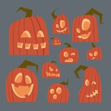 Different Pumpkins Faces Icons Set Happy Halloween Traditional Symbol Jack Lanterns Collection. Flat Vector Illustration Stock Photography