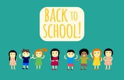 Different pupils kids back to school vector illustration. Stock Images