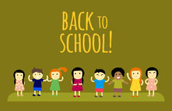 Different pupils kids back to school vector illustration. Stock Image