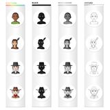 Different race of Afro, Indian, Jew, American. The human race set collection icons in cartoon black monochrome outline. Style vector symbol stock illustration royalty free illustration