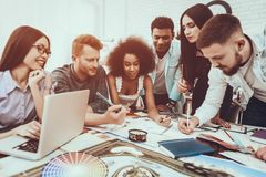 Different Races. Project. Teamwork . Discuss. royalty free stock photos