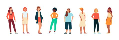 Different races women standing in casual cloth background flat vector isolated. royalty free illustration