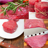 Different raw beef cuts collage Stock Images