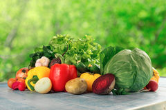 Different raw fresh vegetables оn blue rustic wooden table Royalty Free Stock Photo