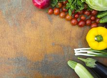 Different raw organic fruits and vegetables on wooden table. Cop. Y space. Top view. Flat lay stock images